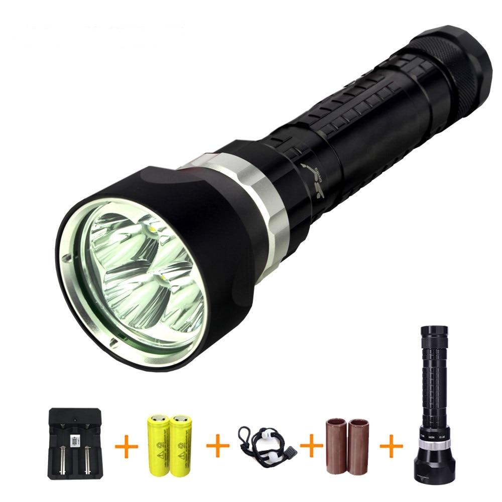 ФОТО For Diver Lamp 50M Underwater 8000LM 4x XM-L L2 LED Scuba Diving Flashlight Torch Waterproof LED Flash Light Lantern