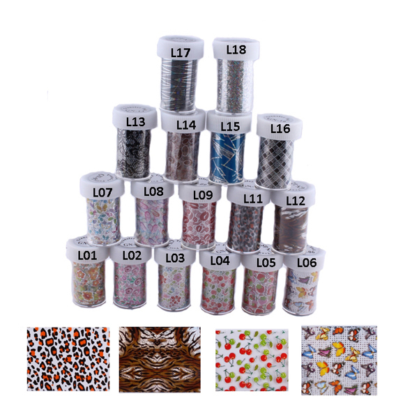10358a13c1f8 17 Rolls Mix colors Nail Foils Cherry,Stawberry,Leopard Lips Butterfly  Design
