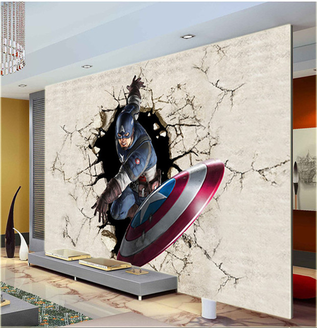 3d Wall Art 3d view wallpaper captain america photo wallpaper silk mural large