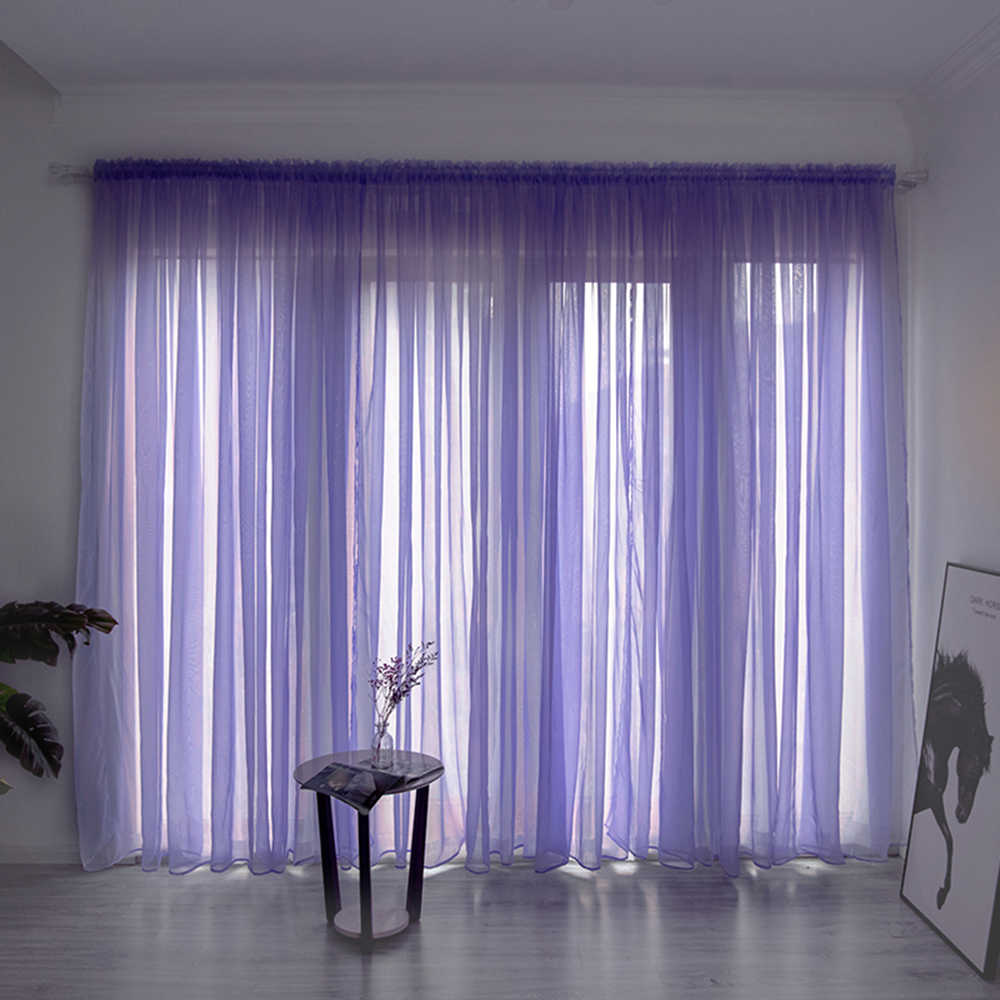 Solid Color Sheer Curtain Window Tulle Curtain For Living Room String Curtains Drape Panel Sheer Bedroom Window Treatments