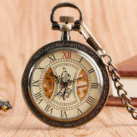 Fob Stylish Classic Wind Up Tree Pattern Mechanical Cool Antique Style Skeleton Pocket Watch Hand Winding