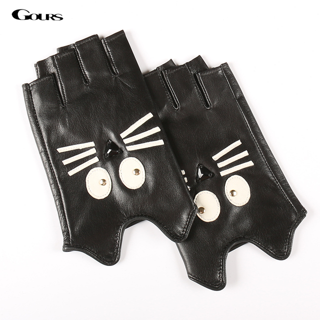 Gours Fall and Winter Genuine Leather Gloves for Women Black Goatskin Half-finger Cat Gloves 2016 New Fashion Brand Warm GSL043