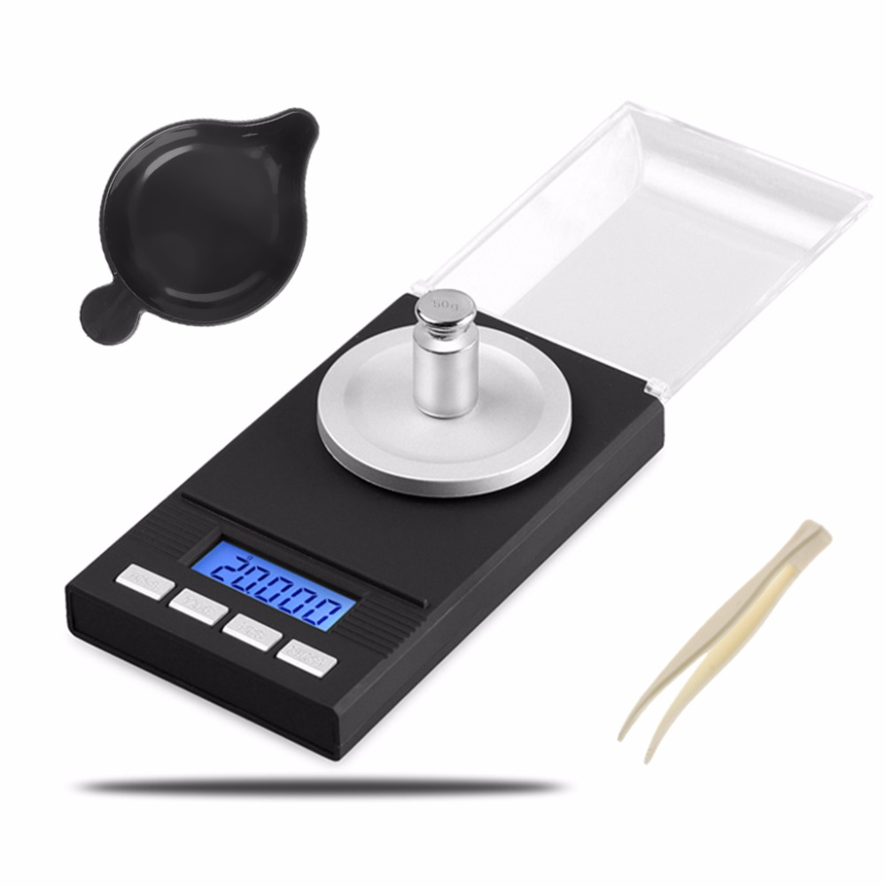 OOTDTY Digital Milligram Scale 50/0.001g Reloading Jewelry with Tweezers Weighing Pans #8A30013#