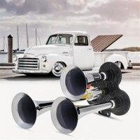 12V 24V 110 135db Super Loud Triple Trumpet Train Air Horn For Boat Train Car Vehicle