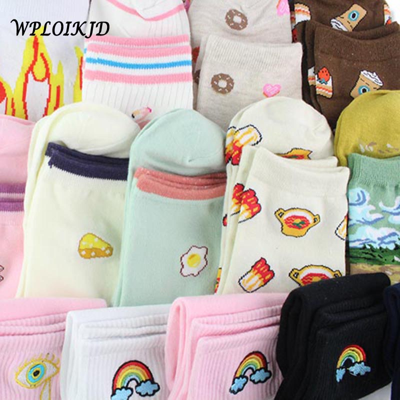 [WPLOIKJD]Creative Harajuku Cotton Funny Socks Women Novelty Embroidery Crew Jacquard Cute Food Socks Sokken Calcetines Mujer