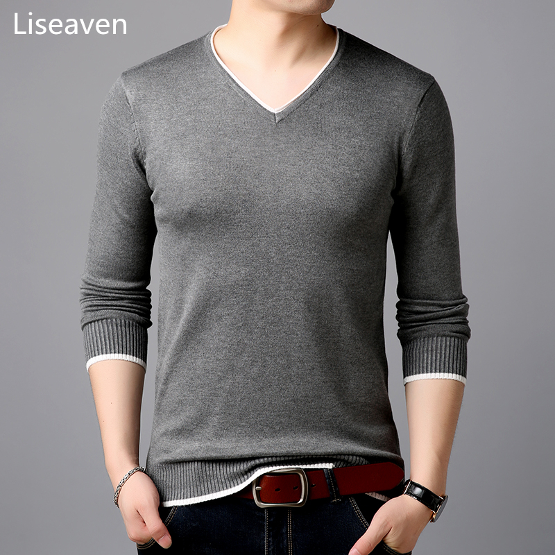 Liseaven Men's Pullover Sweaters Solid Knitwear Men's Clothing Full Sleeve Pullovers Mens Jumper