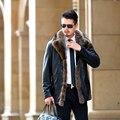 Burrima Высочайшее Качество 2017 Зима Мужчины Твердые Кожаные Куртки Пилота густая Шерсть Лайнер Реального Меховой Воротник Пальто Черный Размер Плюс пальто