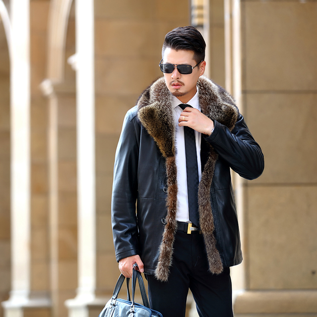 Burrima Top Quality 2017 Winter Men Solid Pilot Leather Jackets Thick Wool Liner Real Fur Collar Coat Black Plus Size Overcoat