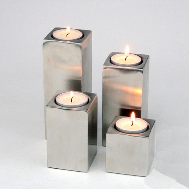 4pcs Pack Stainless Steel Candle Holders Home Decoration Tetragonal Column Shape Stand Bar Party