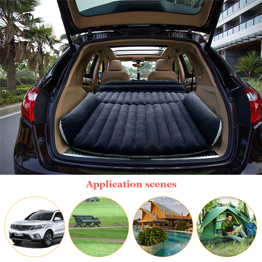 цена на Deflatable Air Inflation SUV Car Bed Mattress Back Seat Camping Flocking PVC Drive Travel Car Seat Cover Inflatable Car bed