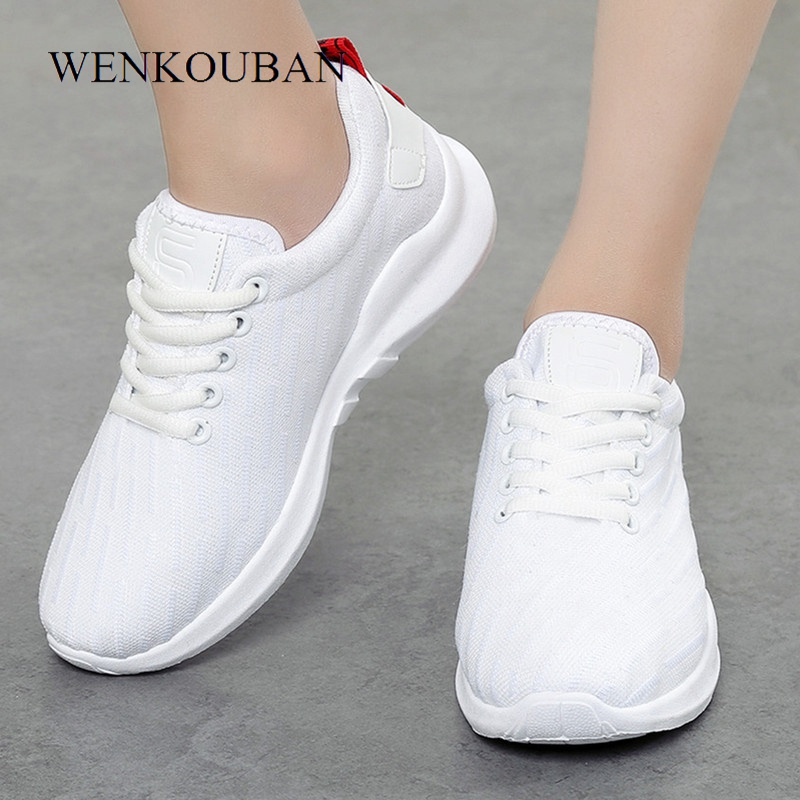 Fashion Sneakers Women Air Mesh Trainers Ladies Casual Shoes Lace Up Basket Femme Breathable Wedges Zapatos Mujer Canvas Shoes