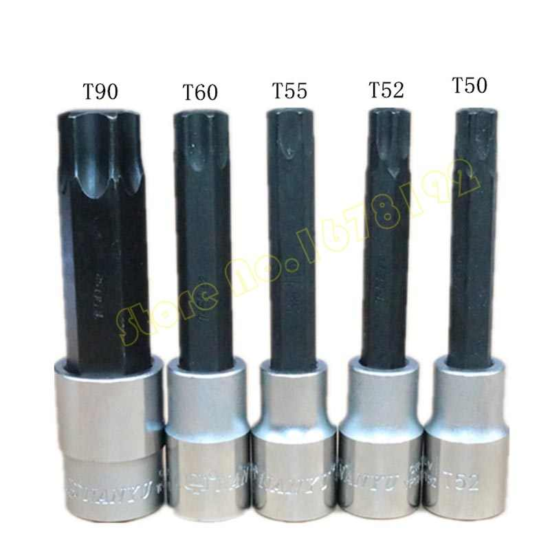 "1/2"" S2 Alloy Torx Screwdriver Bits Set 6 Point Spline Socket Bit Set T20 T25 T27 T30 T40 T45 T50 T52 T55 T60 T70 T80 T90"