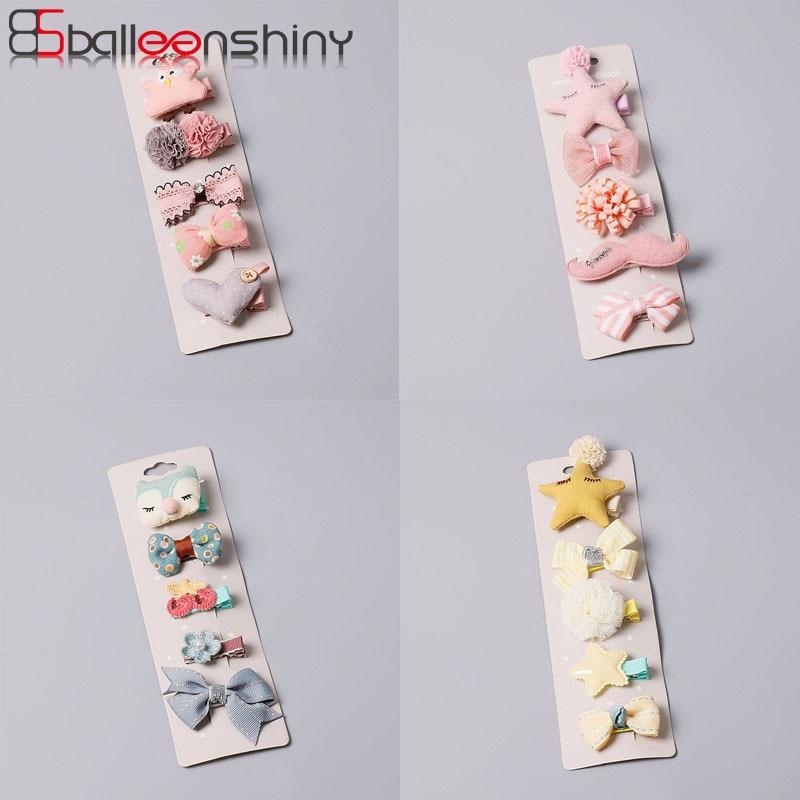 BalleenShiny 5 Pcs Flower Hairpins Bobby Pin Princess Headwear Baby Girls Fashion Crown Cartoon Haipins Children Hair Accessory