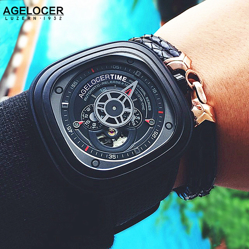 Agelocer Cool Hollow Automatic Mechanical Watches Men Luxury Brand Genuine Leather Casual Black Skeleton Watch Clock relogio ks black skeleton gun tone roman hollow mechanical pocket watch men vintage hand wind clock fobs watches long chain gift ksp069