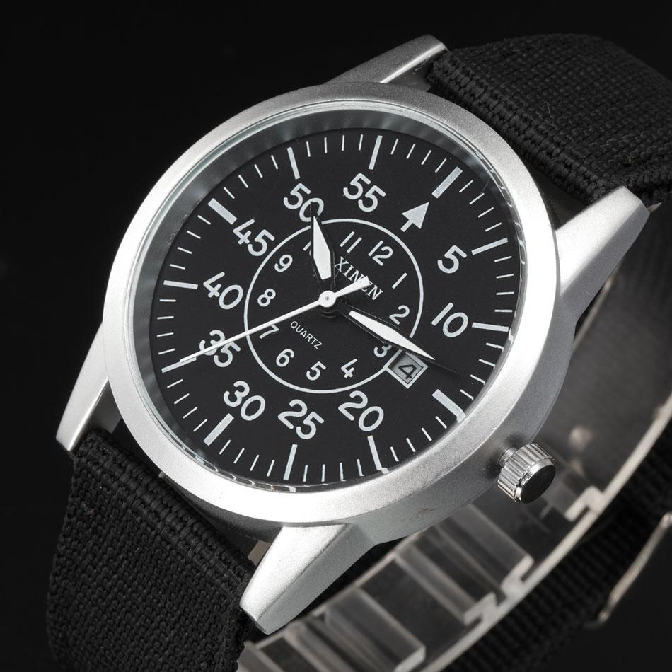 XINEW Wrist Watches Calendar Quartz Black Vintage Casual Mens Original-Design Brand Nylon
