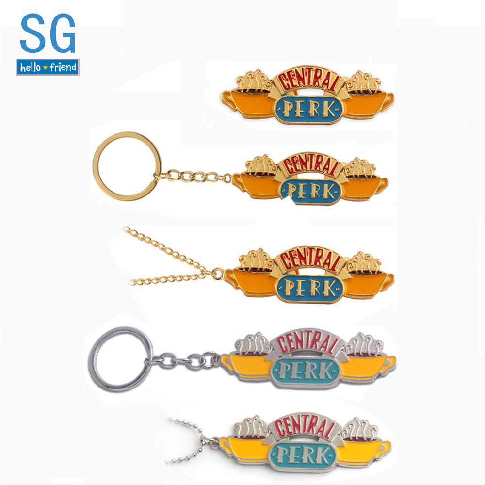 SG TV Friends Keychains Silver Gold Central Perk Coffee Time Logo Pendants Keyring Broch Choker Women Men Christmas Gift Jewelry