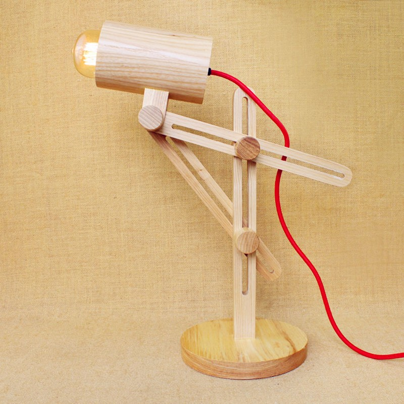 Старинные деревянные Настольная лампа Регулируемый Для тела 90 ~ 260 В E27 деревянный стол света для кабинет спальня Кофе магазин Творческий Ди...