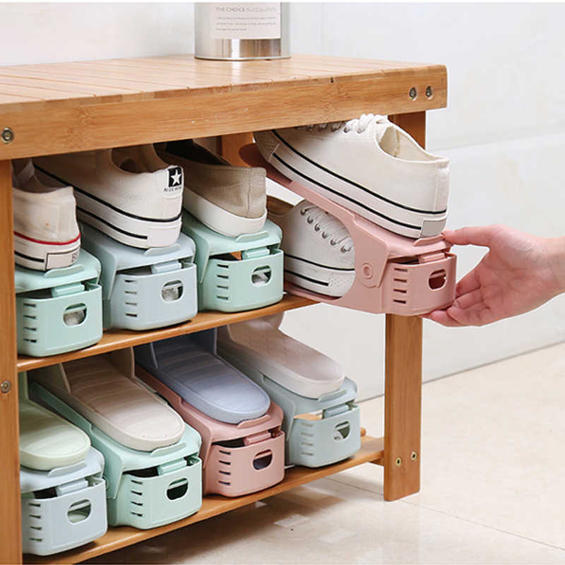 Shoe Rack Organizer 4Pcs Storage Double Shoes Plastic Adjustable Holder Organiser Hanger Cabinet Box Organizers Range Stand Rack