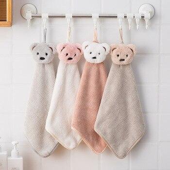 Детское полотенце для рук с рисунком медведя из мультфильма, Коралловое флисовое полотенце для купания, милые впитывающие Wisp полотенца для детской ванной комнаты, подвесное полотенце