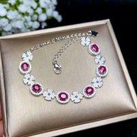 Shilovem стерлингового серебра 925 натуральным рубин браслеты ювелирные украшения мода вечерние новый завод свадебные 4 * мм 5 мм bl040501agh