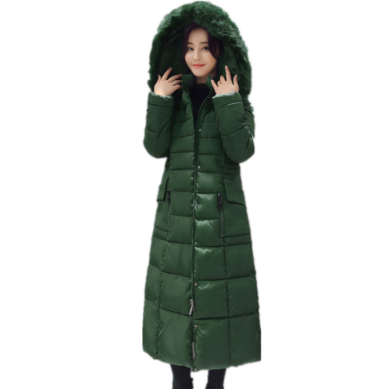 5XL Hooded Fur Collar Winter Long Jacket Women   Parka   Thick Warm Slim Long Coat Elegant Oversized   Parka   Streetwear Jacket Q1068
