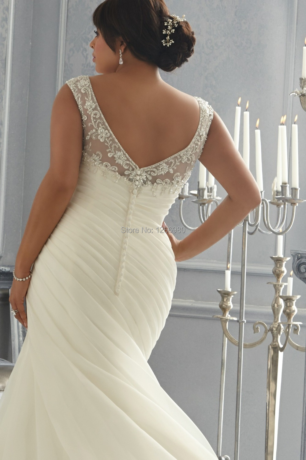 2014 New Design Mermaid Boat Neck Sheer Top Appliqued Open Back Fat Size Wedding Dress For Big Women Gowns Bride In Dresses From