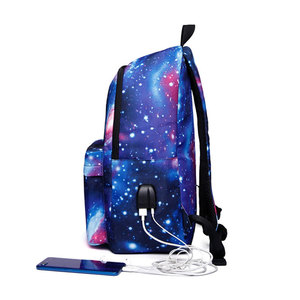 Image 3 - Erkekler tuval okul dizüstü sırt çantası Galaxy yıldız evren uzay USB şarj gençler için erkek öğrenci kızlar çanta seyahat Mochila