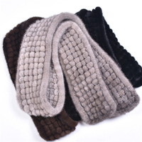 New muffler genuine mink fur women scarf hand knitted mink scarves wholesale and retail natural color