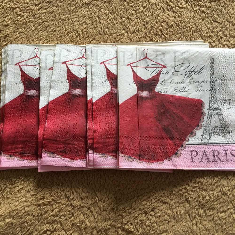20 винтажная салфетка, бумага, милый тканевый платок с принтом, красная юбка, башня Парижа, декупаж, Свадебный декор