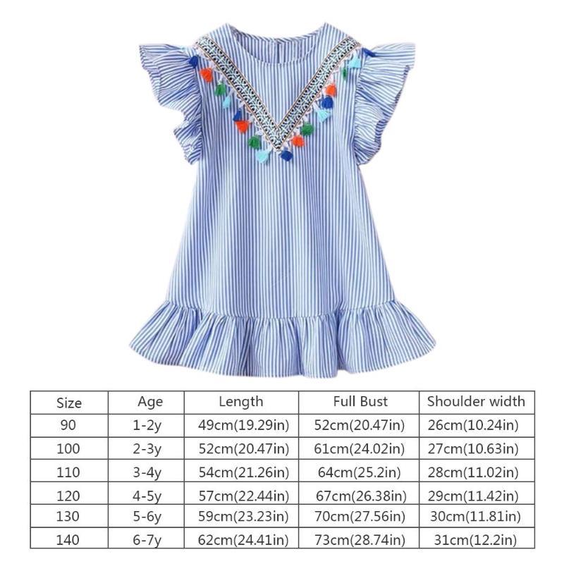 HTB1YmVzXL1H3KVjSZFHq6zKppXa5 Summer Girls Tassel Flying Sleeve Dresses Stripe Cute Kids Party for girls Princess Dress Tops Clothes
