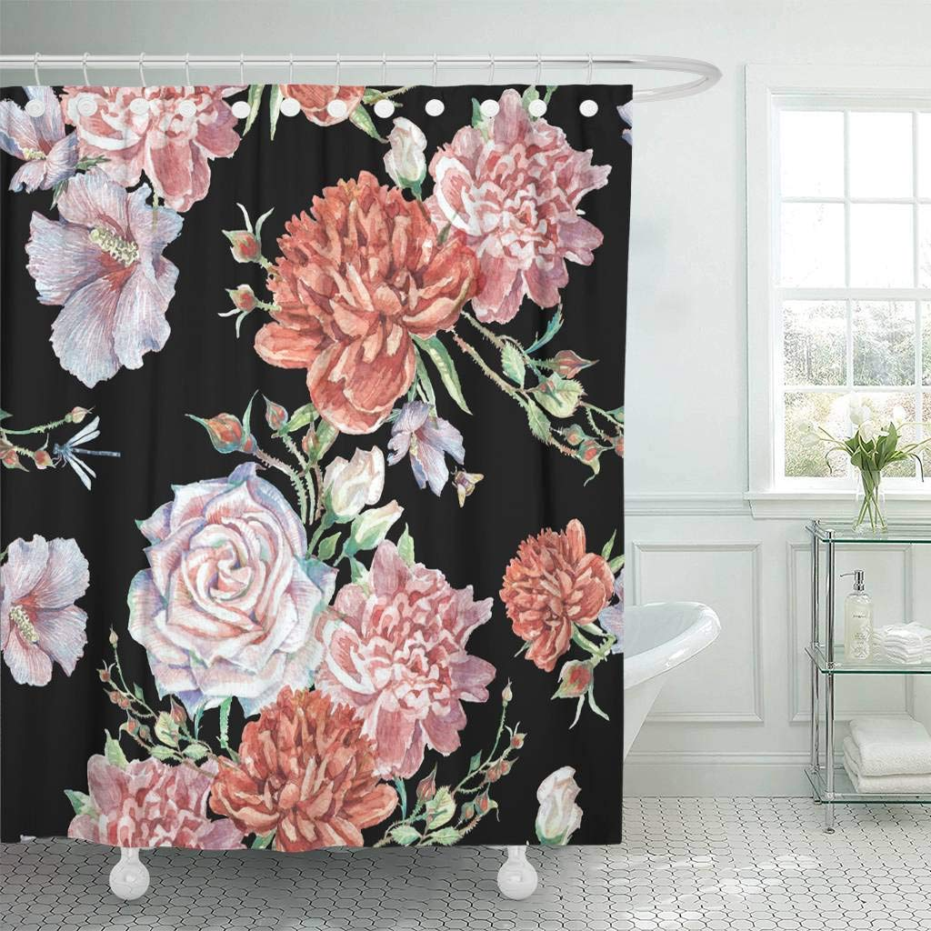 Us 18 73 25 Off Fabric Shower Curtain With Hooks Colorful Floral Bright With Cream Roses Pink And Red Peonies And Buds On Black Green In Shower