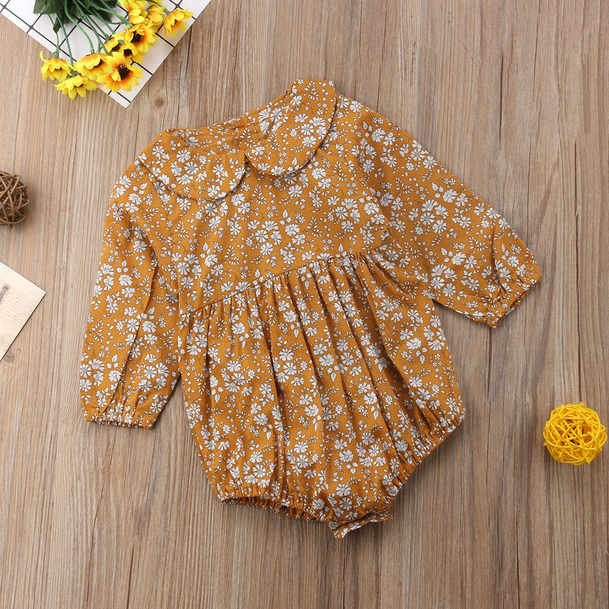 fff890ab9 Newborn Baby Girls Clothing Infant Baby Girls Floral Rompers Long ...