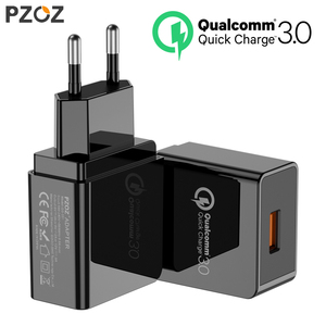 PZOZ USB Charger Mobile Phone Fast charging qualcomm quick charge QC 3.0 Travel Wall Adapter EU Plug For Samsung Xiaomi iPhone