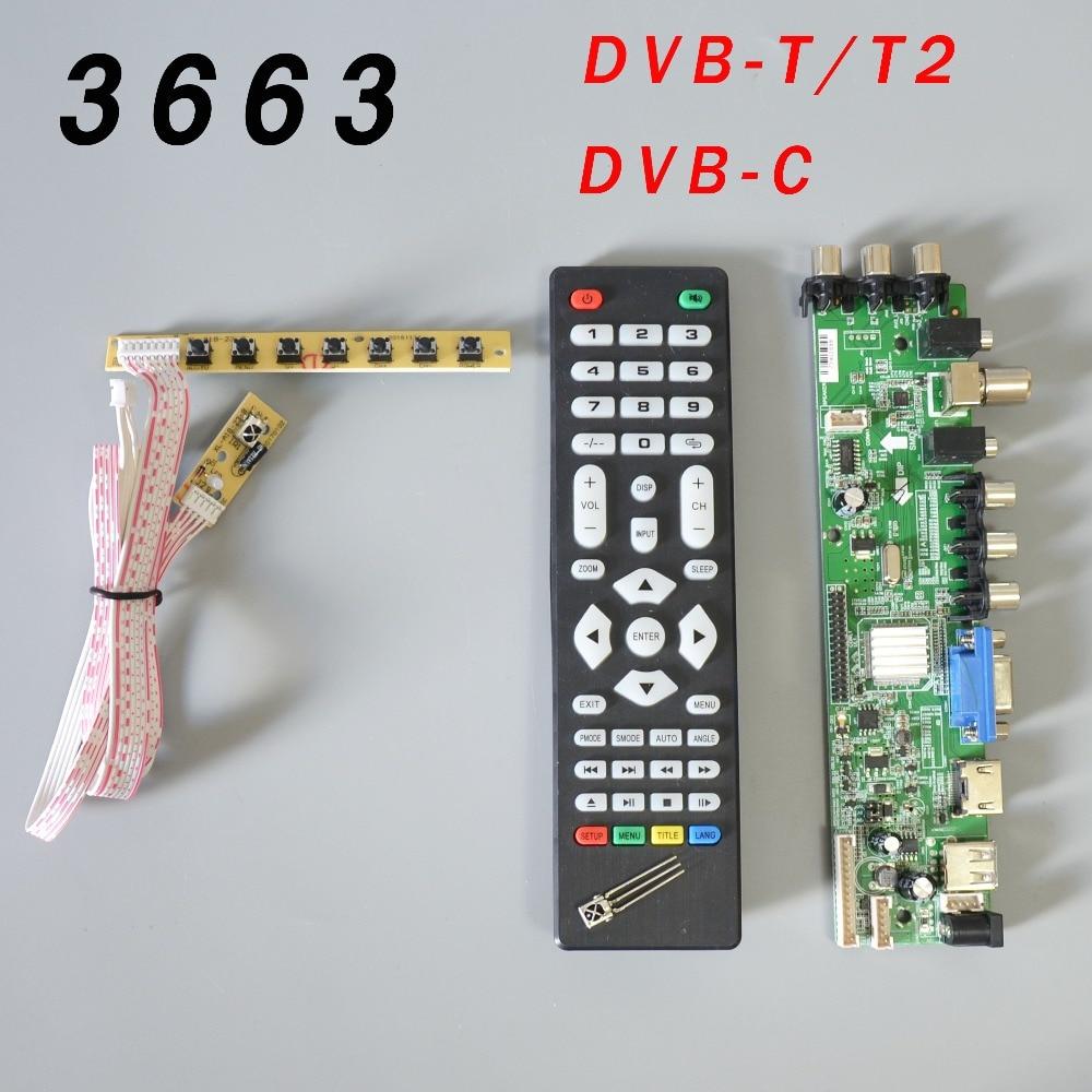 DS.D3663LUA.A81.2.PA V56 V59 Universal LCD Driver Board Support DVB-T2 TV Board+7 Key Switch+IR 3663