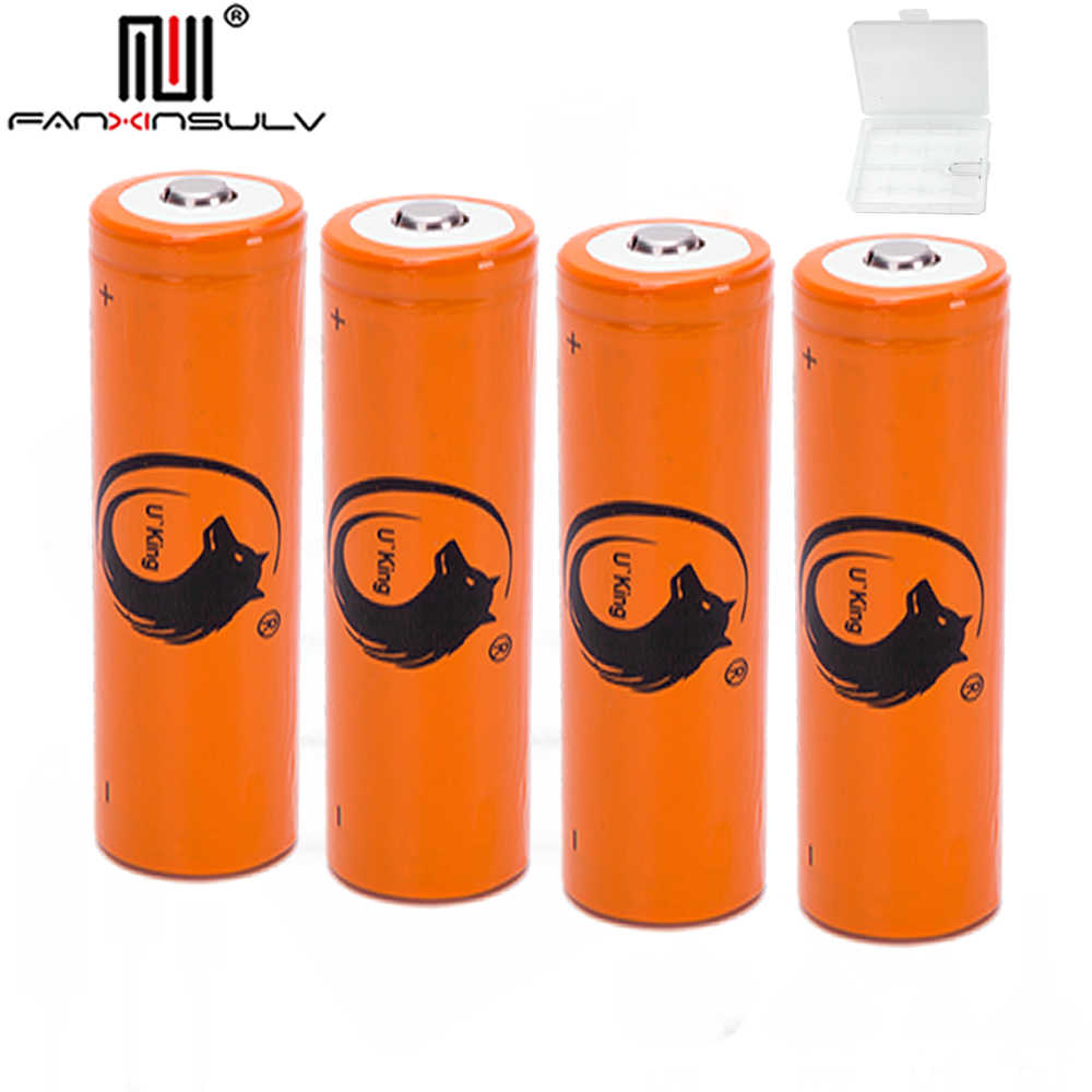 4pcs 3.7V 4200mAh 18650 battery + case 18650 lithium rechargeable battery For Flashlight batteries portable power supply TRACKED