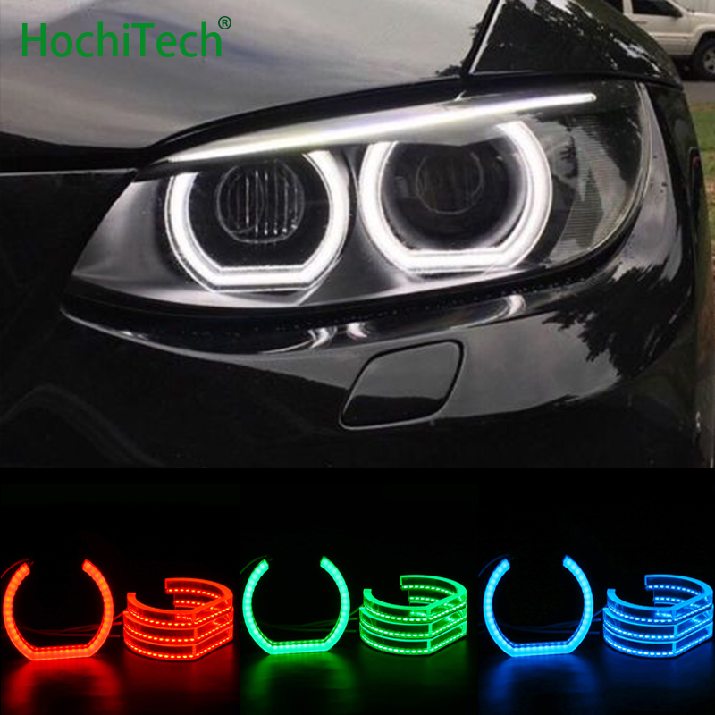 RGB Crystal Multi-Color DTM Style LED Angel Eyes Halo Rings Light kits for For BMW 3 Series E90 E92 E93 M3 Coupe cabriolet 07-13