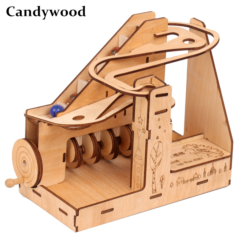 Ukraine UGEARS Children Wooden Mechanical Transmission Model Adult Assembled Toy Marble slide track Birthday Male Kids Gift Toys