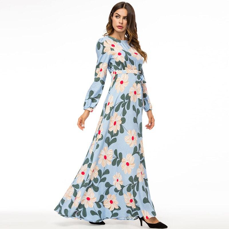Maxi Floral Celebrity 2019 Taille Blue Pleine Robe Bohême Plage graduation Grande Soirée Light À De Longues robe Manches HdqqxXSw