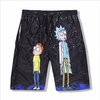 Casual Unisex Rick And Morty 3D Print Casual Shorts Breathable Summer Cartoon Print Men S Body