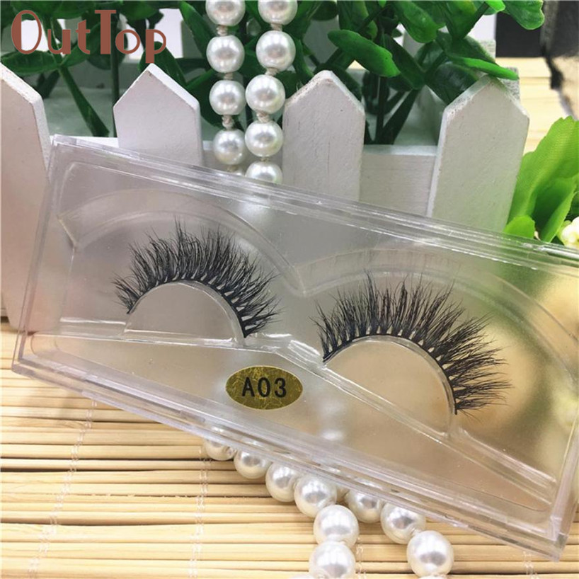 OutTop Women makeup tools 3D Natural Multi Layer Thick Cross Eye Lashes False Eyelashes A03 Eyelash extension 2017 June6