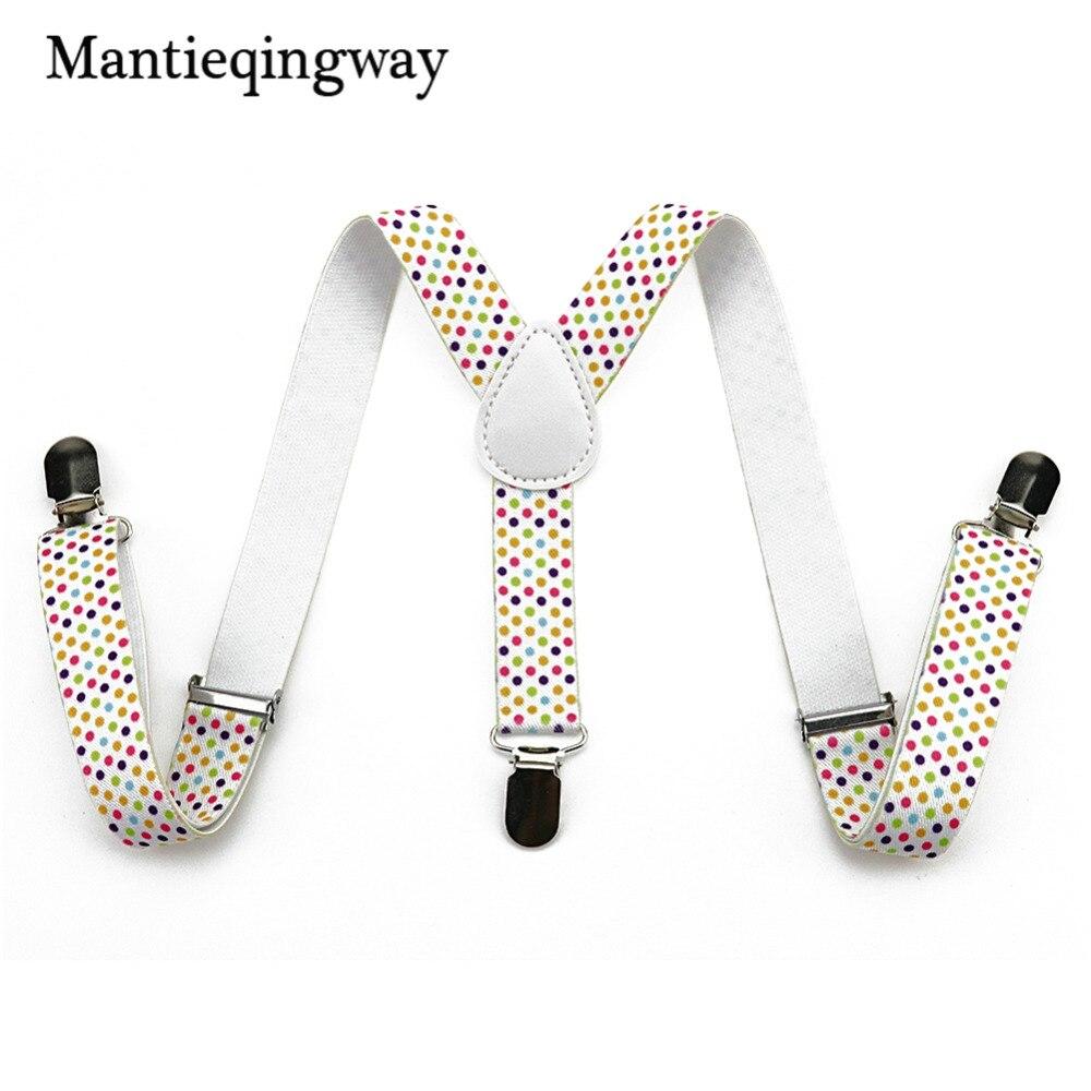 Mantieqingway Polka Dot Suspenders Striped Elastic Braces 3 Clip-on Suspenders For Kids Y Back Shirt Garters For 1-10 Year