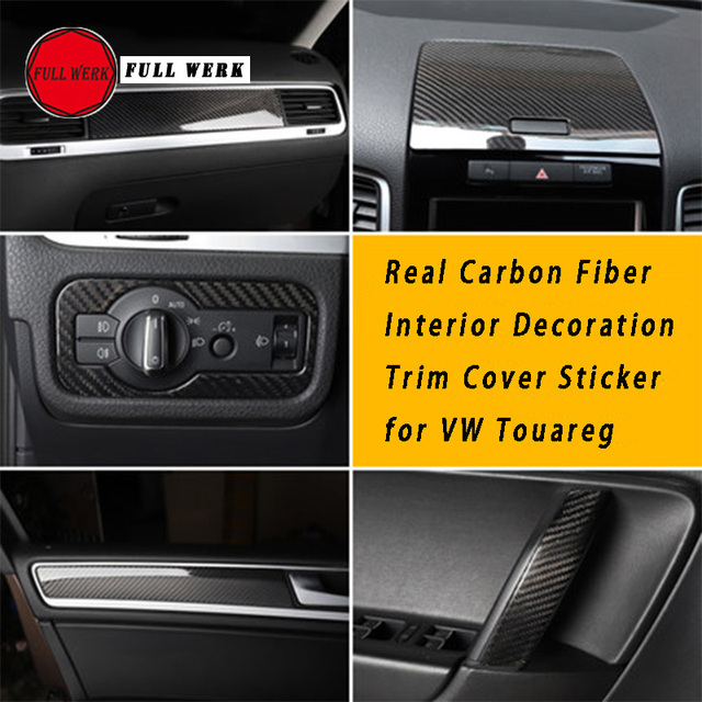 Carbon Fiber Car Styling Interior Decoration Trim Inner Door Sticker Cover for VW Touareg 11-17 Interior Mouldings Accessories