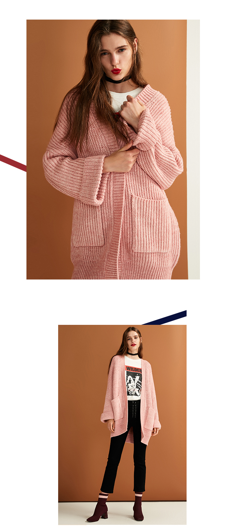 ONLY womens' autumn new cardigan long sweater sweater women Cuff design Cardigan design|11833B504 9