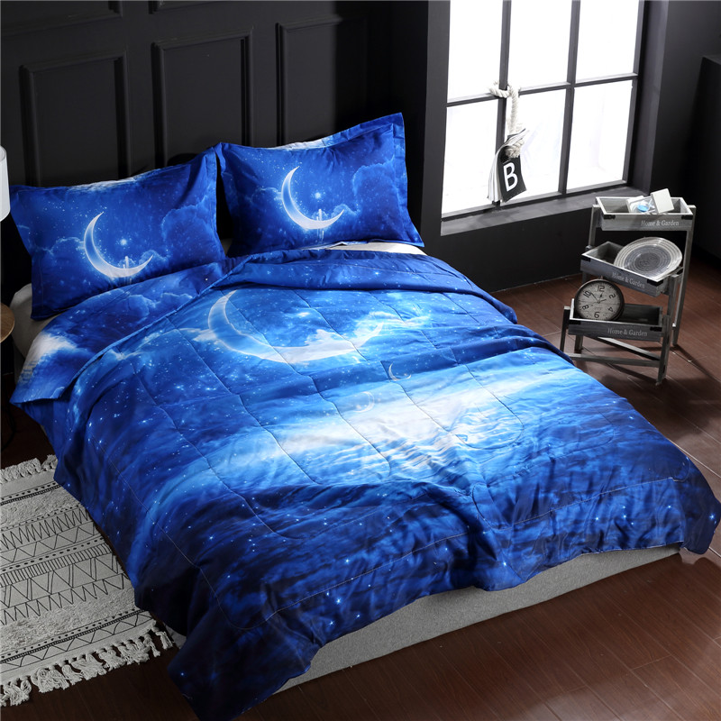 Starry Sky Printed Hight Quality Comforter Sets Polyester Fabric Light and Soft Duvet Bed Set King Queen Size Summer Quilt Starry Sky Printed Hight Quality Comforter Sets Polyester Fabric Light and Soft Duvet Bed Set King Queen Size Summer Quilt