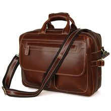 Large Space Two Layers Genuine Leather Men Business Bag Male Briefcase Weekend Work Trip Handbag Laptop Tote PR087085