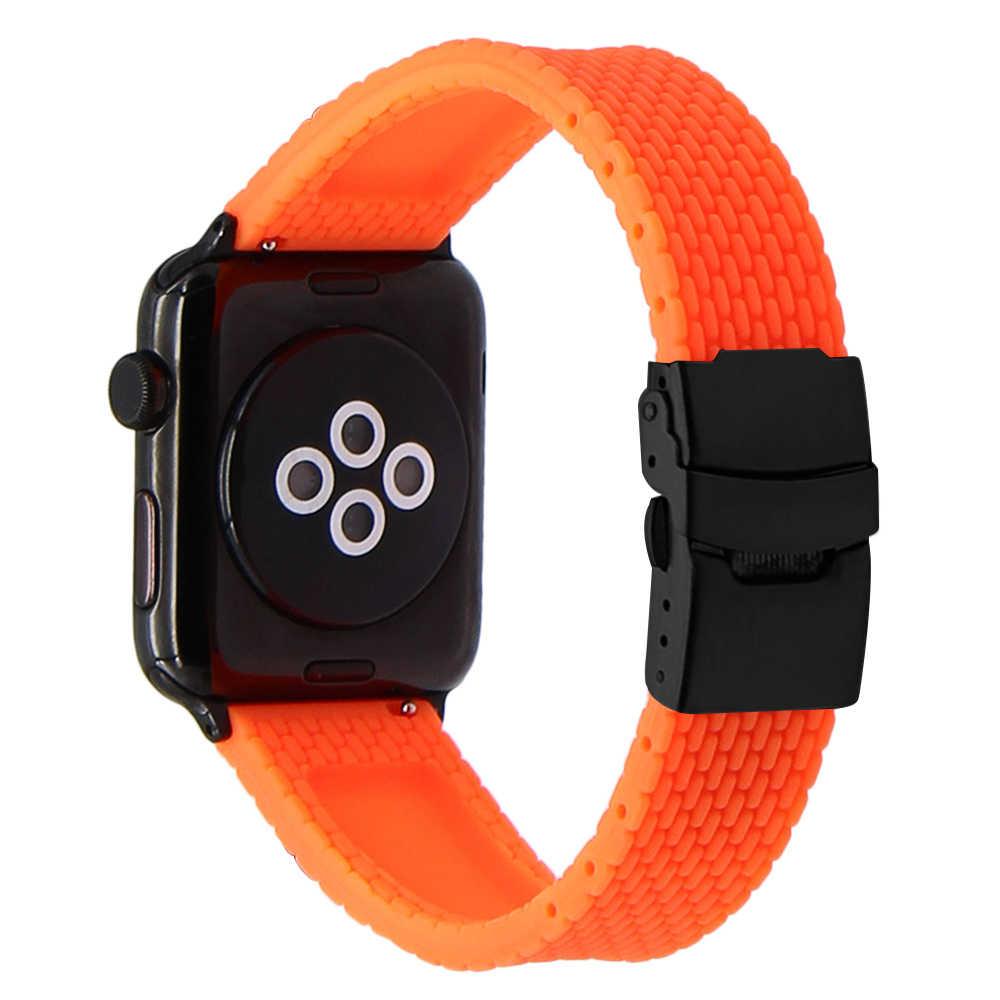 سيليكون المطاط Watchband ل iWatch أبل ساعة 38 مللي متر 40 مللي متر 42 مللي متر 44 مللي متر الفرقة سلسلة 5 4 3 2 1 الصلب السلامة المشبك حزام سوار