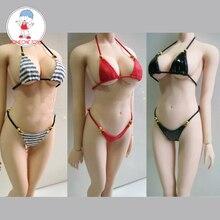 Fait à la main 1:6 femme Figure Sexy Bikini ensemble femmes en cuir noir/rouge/rose Plaid Bikini vêtements pour 12 pouces figurines daction