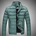 T china baratos por atacado 2016 outono inverno new men moda gola casuais cor Sólida fino de algodão-acolchoado jacket outerwear