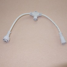 3 core T type waterproof splitter(the middle is 2core);WHITE color;the male connect's diameter;13.5mm;18AWG wire