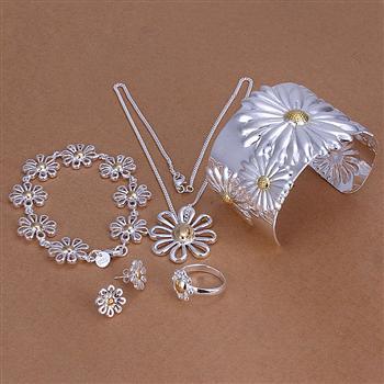 Оптовая продажа Модные украшения комплект, 925 серебро Цепочки и ожерелья и браслет/Серьги кольца. Хороший ювелирные изделия. Хорошее S0125